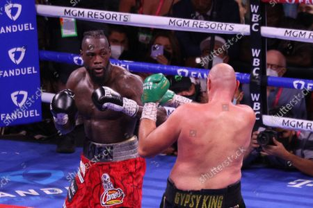 Deontay Wilder prepares to throw a punch during the Tyson Fury vs Deontay Wilder III 12-round Heavyweight boxing match, at the T-Mobile Arena in Las Vegas, Nevada on Saturday, October 9th, 2021.