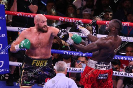 Tyson Fury prepares to throw a punch during the Tyson Fury vs Deontay Wilder III 12-round Heavyweight boxing match, at the T-Mobile Arena in Las Vegas, Nevada on Saturday, October 9th, 2021.