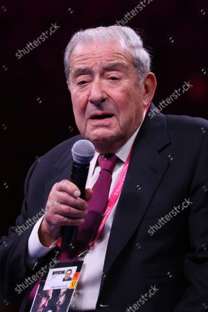 Promoter Bob Arum addresses the media during the post fight press conference of the Tyson Fury vs Deontay Wilder III 12-round Heavyweight boxing match, at the T-Mobile Arena in Las Vegas, Nevada on Saturday, October 9th, 2021.