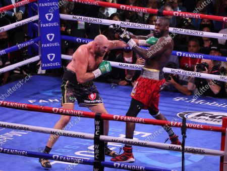 Tyson Fury lands a left jab to Deontay Wilderâ€s chin during  the Tyson Fury vs Deontay Wilder III 12-round Heavyweight boxing match, at the T-Mobile Arena in Las Vegas, Nevada on Saturday, October 9th, 2021.
