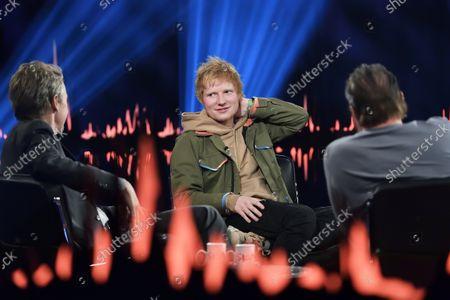 Stock Picture of Ed Sheeran, Fredrik Skavlan, Peter Stormare, Recording of Skavlan, SVT, Stockohlm