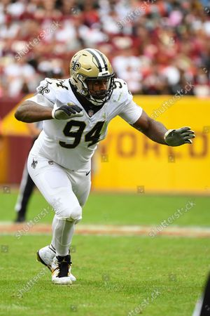 New Orleans Saints defensive end Cameron Jordan (94) in action during the first half of an NFL football game against the Washington Football Team, in Landover, Md