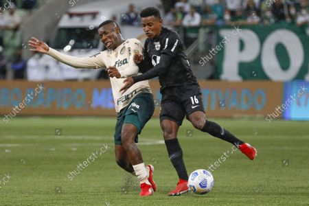 Palmeiras midfielder Patrick de Paula and Ramires of Bragantino during the Campeonato Brasileiro football match between Palmeiras and Red Bull Bragantino at the Allianz Parque Stadium (formerly known as Palestra Italia) in Sao Paulo, Brazil. The game ended in a 2-4 victory for Red Bull Bragantino with goals from Ytalo, Cuello and two for Artur who previously played for Palmeiras. Dudu and Raphael Veiga scored for Palmeiras.