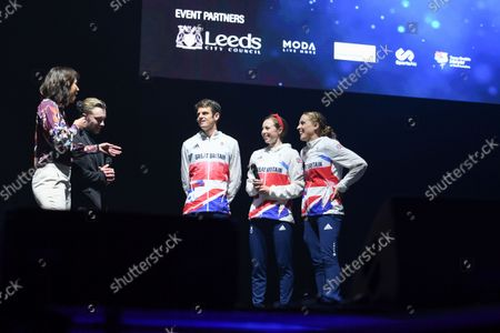 Stock Image of Tanya Arnold and Nile Wilson interview Jonny Brownlee, Georgia Taylor-Brown and Jessica Learmonth
