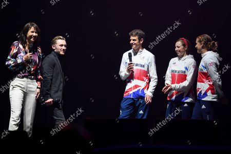 Stock Photo of Tanya Arnold and Nile Wilson interview Jonny Brownlee, Georgia Taylor-Brown and Jessica Learmonth