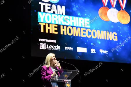Editorial picture of Team Yorkshire Homecoming. Leeds, UK - 10 Oct 2021