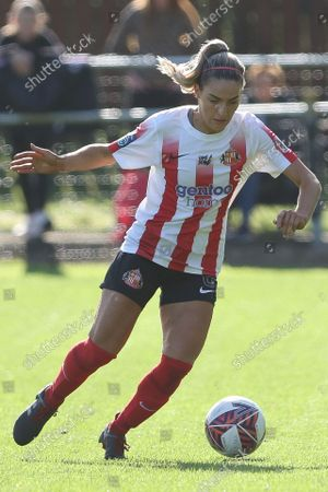 Louise Griffiths of Sunderland in action during the FA Women's Championship match between Sunderland and Durham Women FC at Eppleton CW, Hetton on Sunday 10th October 2021.