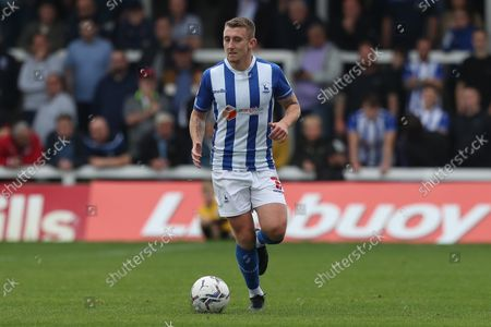David Ferguson of Hartlepool United during the Sky Bet League 2 match between Hartlepool United and Northampton Town at Victoria Park, Hartlepool on Saturday 9th October 2021.