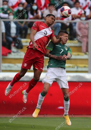Bolivia's Juan Carlos Arce (R) in action against Peru's Marcos Lopez during the UEFA Nations League final between Spain and France in Milan, Italy, 10 October 2021.