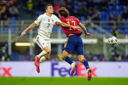 Benjamin Pavard of France and Marcos Alonso of Spain