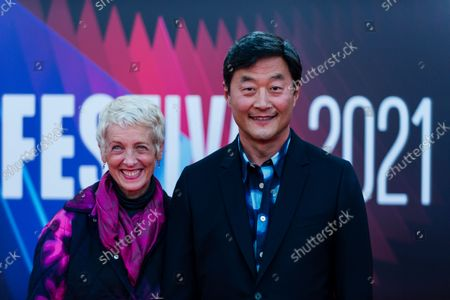 Kelly Coffield Park and Stephen Park attend the 'The French Dispatch' UK Premiere during the 65th BFI London Film Festival at The Royal Festival Hall in London, Britain, 10 October 2021.