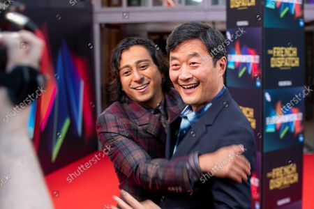 """Mario Revolori and Stephen Park attend the UK Premiere and Headline Gala of Searchlight Picture's """"The French Dispatch"""" at The Royal Festival Hall on October 10, 2021 in London, England"""
