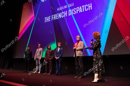 """Stock Image of (L to R) Stephen Park, Rupert Friend, Mario Revolori, Alex Lawther, Jarvis Cocker and Tricia Tuttle attend the UK Premiere and Headline Gala of Searchlight Picture's """"The French Dispatch"""" at The Royal Festival Hall on October 10, 2021 in London, England"""