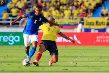 Stock Picture of Colombia's Roger Martinez (R) in action against Brazil's Alex Sandro during the FIFA World Cup 2022 qualifying soccer match between Colombia and Brazil at Metropolitano stadium in Barranquill, Colombia, 10 October 2021.