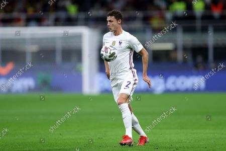 Benjamin Pavard of France in action during the Uefa Nations League final match between Spain and France.