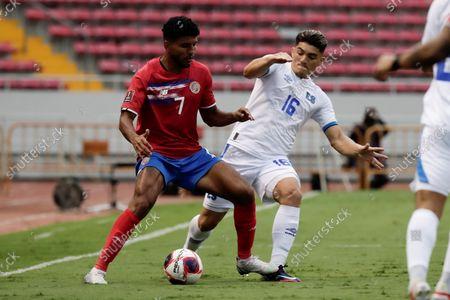 Costa Rica's Johan Venegas (L) in action against El Salvador's Eduardo Vigil (R) during  the CONCACAF World Cup Qatar 2022 qualifiers soccer match between Costa Rica and El Salvador at the National Stadium in San Jose, Costa Rica, 10 October 2021.