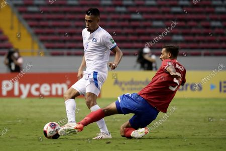 Stock Image of Costa Rica's Johan Venegas (R) in action against El Salvador's Darwin Ceren (L) during  the CONCACAF World Cup Qatar 2022 qualifiers soccer match between Costa Rica and El Salvador at the National Stadium in San Jose, Costa Rica, 10 October 2021.