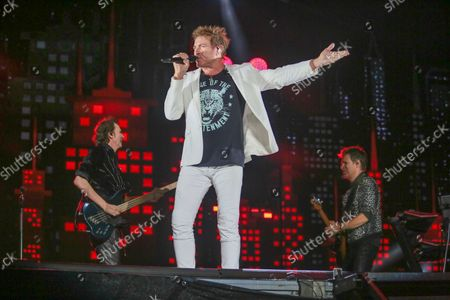 Duran Duran's John Taylor, Simon Le Bon, and Dominic Brown, from left, perform on day three of the Austin City Limits Music Festival's second weekend, in Austin, Texas
