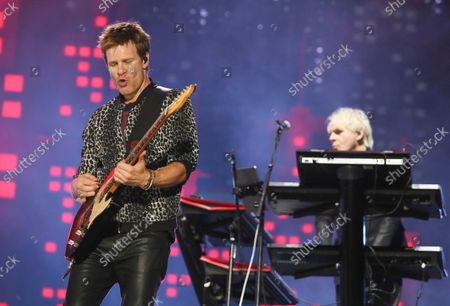 Stock Picture of Duran Duran's Dominic Brown, left, and keyboardist Nick Rhodes perform on day three of the Austin City Limits Music Festival's second weekend, in Austin, Texas