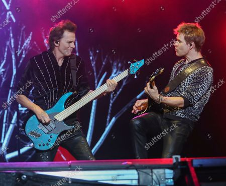 Stock Photo of Duran Duran's John Taylor, left, and Dominic Brown perform on day three of the Austin City Limits Music Festival's second weekend, in Austin, Texas