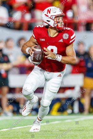 Lincoln, NE. U.S. - Nebraska Cornhuskers quarterback Adrian Martinez #2 in action during a NCAA Division 1 football game between Michigan Wolverines and the Nebraska Cornhuskers at Memorial Stadium in Lincoln, NE. .Michigan won 32-29.Attendance: 87,370