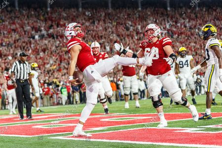 Lincoln, NE. U.S. - Nebraska Cornhuskers quarterback Adrian Martinez #2 reacts after scoring a rushing touchdown in action during a NCAA Division 1 football game between Michigan Wolverines and the Nebraska Cornhuskers at Memorial Stadium in Lincoln, NE. .Michigan won 32-29.Attendance: 87,370