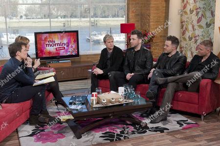 Ben Shephard and Ruth Langsford with Westlife - Kian Egan, Mark Feehily, Shane Filan and Nicky Bryne