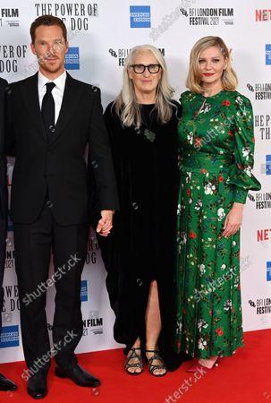 Stock Photo of Kirsten Dunst, Jane Campion and Benedict Cumberbatch
