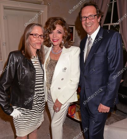 Dame Joan Collins with daughter Katy and husband Percy Gibson