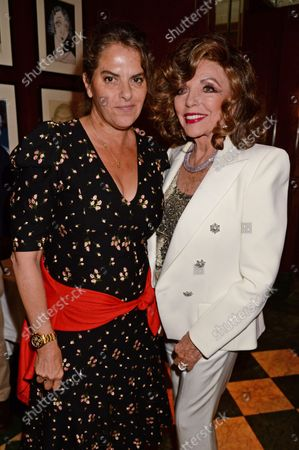 Stock Image of Tracey Emin and Dame Joan Collins at the J Sheekey restaurant