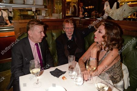 Andrew Pierce, Bill Collins and Joan Collins at the J Sheekey restaurant