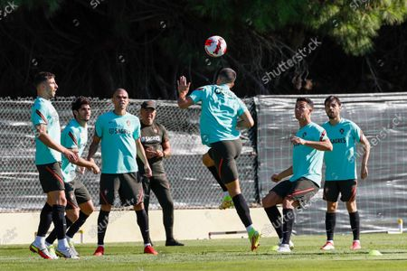 Portuguese national soccer players (L - R) Ruben Dias, Pepe, Cristiano Ronaldo and Bernardo Silva attend a training session in Almancil, Faro, South of Portugal, 10 October  2021. Portugal will face Luxembourg in their FIFA World Cup Qatar 2022 qualifying group A soccer match on 12 October 2021 in Faro.