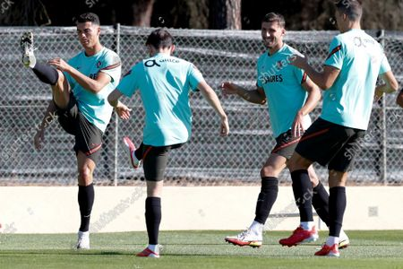 Portuguese national soccer players (L - R) Cristiano Ronaldo, Bernardo Silva, Ruben Dias and Joao Palhinha attend a training session in Almancil, Faro, South of Portugal, 10 October  2021. Portugal will face Luxembourg in their FIFA World Cup Qatar 2022 qualifying group A soccer match on 12 October 2021 in Faro.