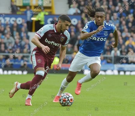 Said Benrahma of West Ham United in action with Alex Iwobi of Everton