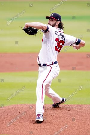 Atlanta Braves starting pitcher Ian Anderson (36) warms up before Game 3 of a baseball National League Division Series between the Atlanta Braves and the Milwaukee Brewers, in Atlanta