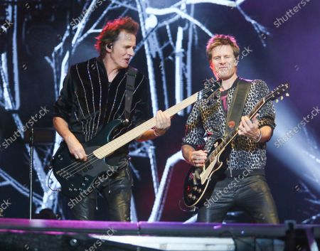 Duran Duran's John Taylor, left, and Dominic Brown perform on day three of the Austin City Limits Music Festival's second weekend, in Austin, Texas