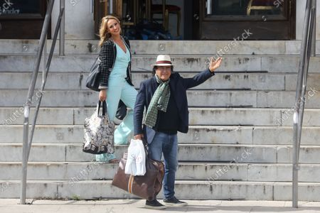 """Stock Image of Al Bano arrives at the TV studios of """"Dancing with the Stars 16"""" with his dancer Oxana Lebedew"""