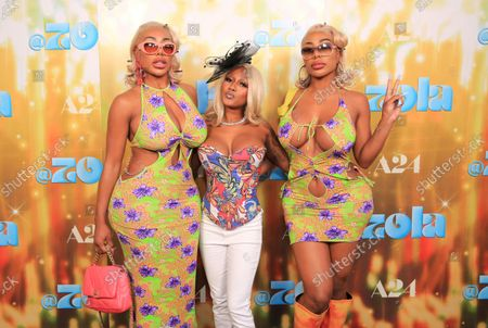 """Stock Image of Shannon Clermont, executive producer Zola King and Shannade Clermont seen at Girls' Night Out screening of A24's """"ZOLA"""" at NeueHouse, in Los Angeles"""