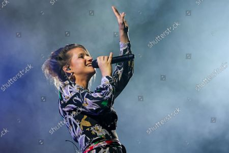 """Stock Image of Belgian singer-songwriter Selah Sue performs on stage during the 30th edition of the """"Fiesta des Suds"""" music festival in Marseille. Selah Sue has won the Best Female Solo Artist award five times at the Music Industry Awards."""