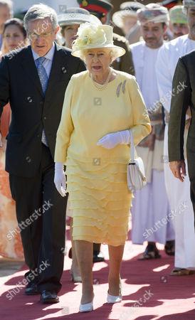 Stock Image of The British Ambassador Noel Guckian and Queen Elizabeth II