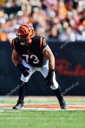 Cincinnati Bengals offensive tackle Jonah Williams (73) lines up for the play during an NFL football game against the Green Bay Packers, in Cincinnati