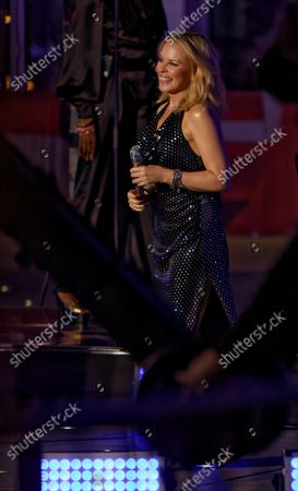 Kylie Minogue performing on The One Show outside BBC Broadcasting House, London