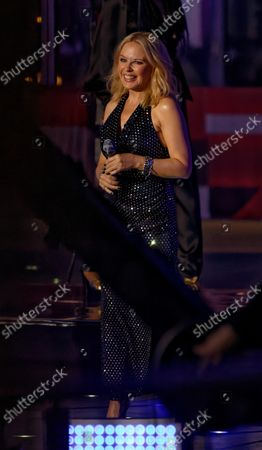 Stock Photo of Kylie Minogue performing on The One Show outside BBC Broadcasting House, London