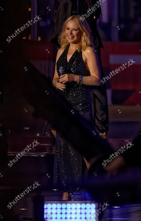 Stock Image of Kylie Minogue performing on The One Show outside BBC Broadcasting House, London
