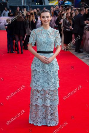 Lindsay Brunnock poses for photographers upon arrival at the premiere of the film 'Belfast' during the 2021 BFI London Film Festival in London