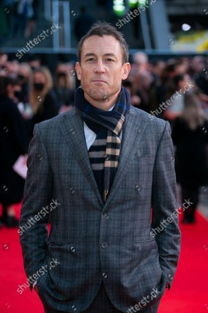 Tobias Menzies poses for photographers upon arrival at the premiere of the film 'Belfast' during the 2021 BFI London Film Festival in London