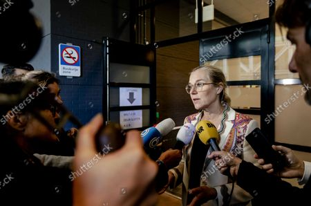 D66 leader Sigrid Kaag speaks to the press when she leaves the court after the lawsuit in which a man is on trial as he is suspected of having threatened her and outgoing minister Hugo de Jonge with death in the Hague, Netherlands, 12 October 2021.