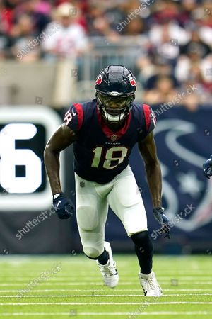 Stock Photo of Houston Texans wide receiver Chris Conley (18) runs a pass route during an NFL football game against the New England Patriots, in Houston