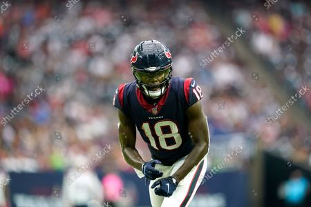 Stock Picture of Houston Texans wide receiver Chris Conley (18) lines up for the snap during an NFL football game against the New England Patriots, in Houston