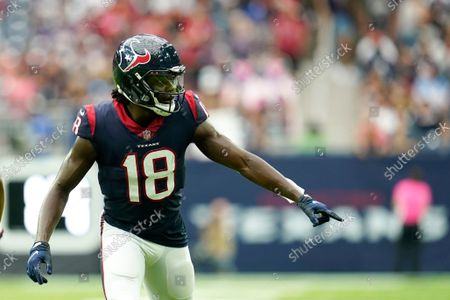 Houston Texans wide receiver Chris Conley (18) lines up for the snap during an NFL football game against the New England Patriots, in Houston